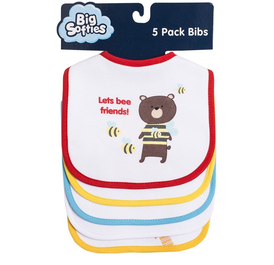 F131 5 Pack Bear | Big Softies | Bibs