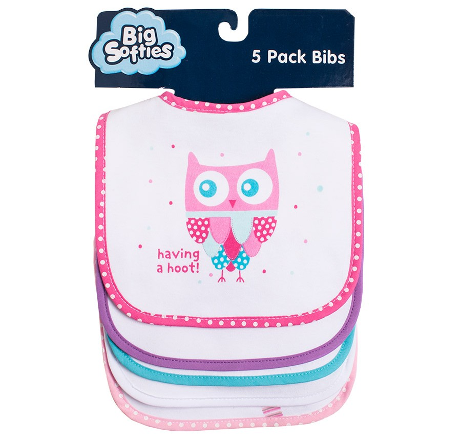 F131 5 Pack Owl | Big Softies | Bibs
