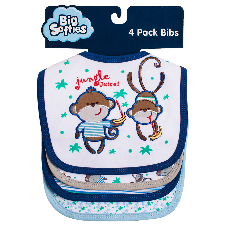 F132 4Pack Monkey | Big Softies | Bibs